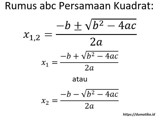 Rumus ABC Persamaan Kuadrat